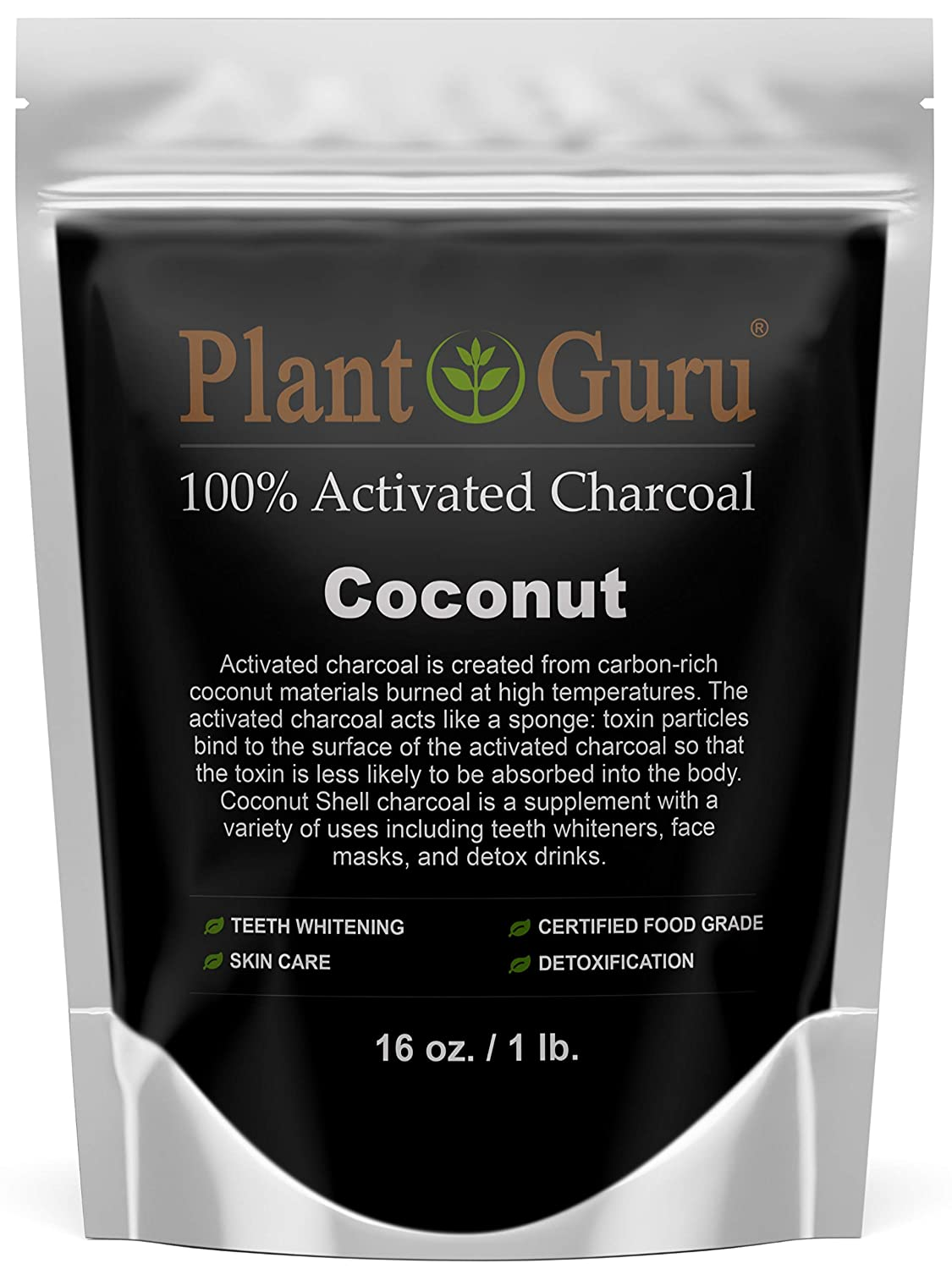 Activated Charcoal Powder 1 lb. COCONUT - Food Grade Kosher Non-GMO - Teeth Whitening, Facial Mask and Soap Making. Promotes Natural Detoxification and Helps Digestion