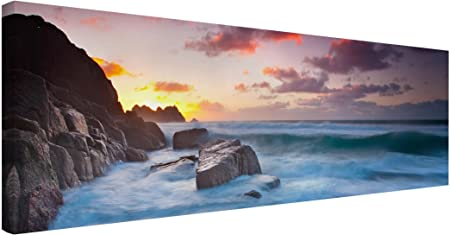 Bilderwelten Cuadro en Lienzo - by The Sea In Cornwall - Panorama Apaisado, Cuadros Cuadro Lienzo Cuadro sobre Lienzo Cuadro Moderno Cuadro Decoracion, Tamaño: 40 x 120cm