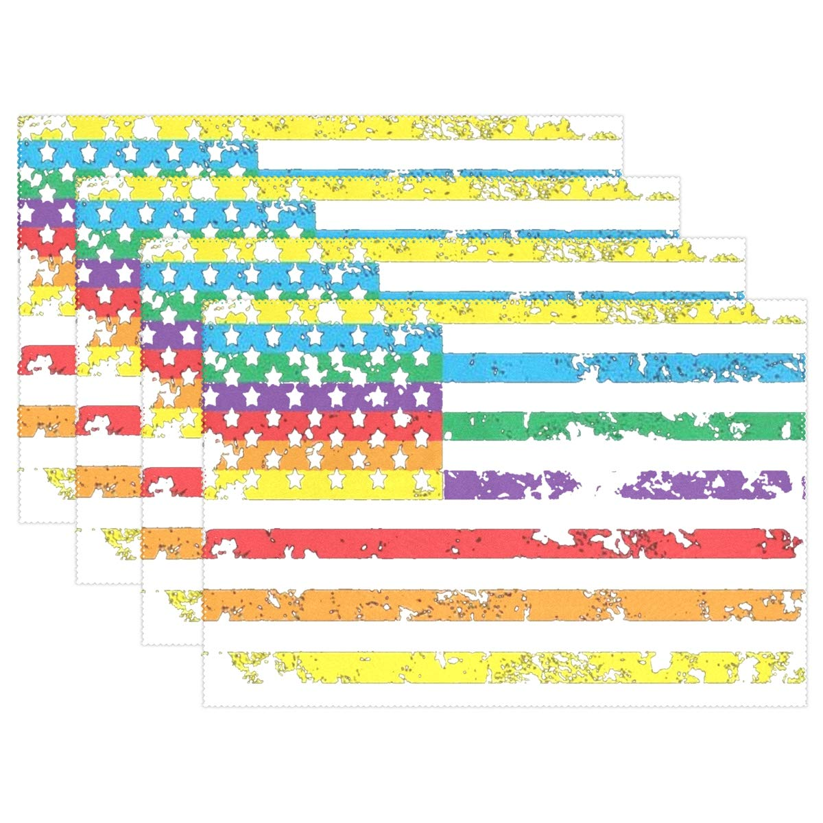Jojogood Colorful America Flag Placemat Dining Table Mat 12''x18'' Polyester Heat Resistant Non-Slip Place Mat Set of 4