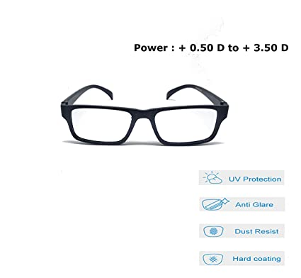 60a0a1da9be0 Aramoda Power Reading Glasses   + 0.50 D to + 3.50 D   with Black Spectacle  Frame For Men and Women (+1.75)  Amazon.in  Health   Personal Care