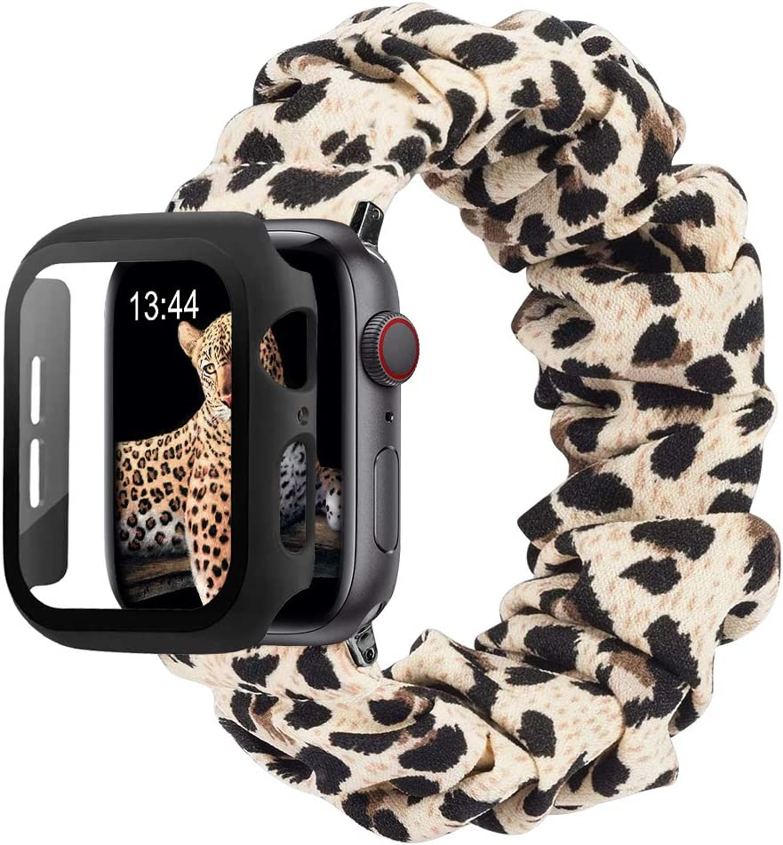 baozai Compatible with Scrunchie Apple Watch Band 40mm SE/Series 6, Cute Soft Fabric Elastic Wristband Bracelet and Apple Watch Screen Protector Case for iWatch SE Series 6 5 4 Women (Leopard, M)