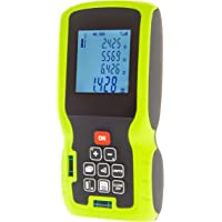 Aussie Home Improvements – Laser Distance Measure, Green Measuring Device Tool – Digital Tape Measurer – Used For Measuring Room Length, Volume & Area. Calculate Triangles with Pythagoras – Metres, Feet & Inches – Bubble Levels