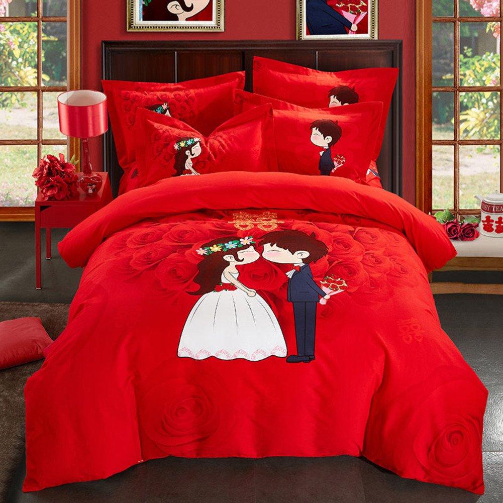 綿 4% 羽毛布団カバーセット,3 d の綿生地,刺繍,超低刺激性柔らかい絹のような高級印刷 1 掛け布団カバー, 1 ベッド シート, 2 枕カバー-I B07F666LDZ King|I I King