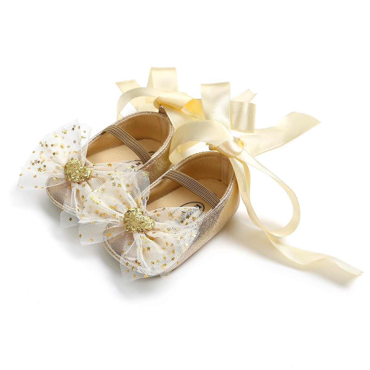 Kuner Toddler Girl Shoes Soft Soled Shoes Lace Wedding Shoes Chiffon Bow Girl Shoes with Bow Headband