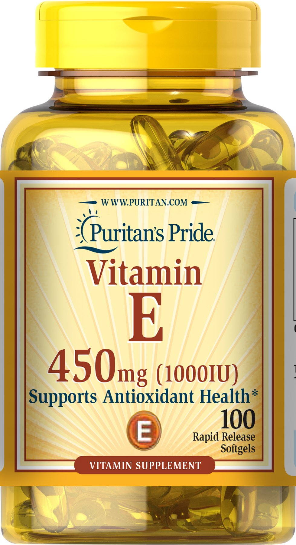 Puritans Pride Vitamin E 1000 IU Soft Gels,100 count