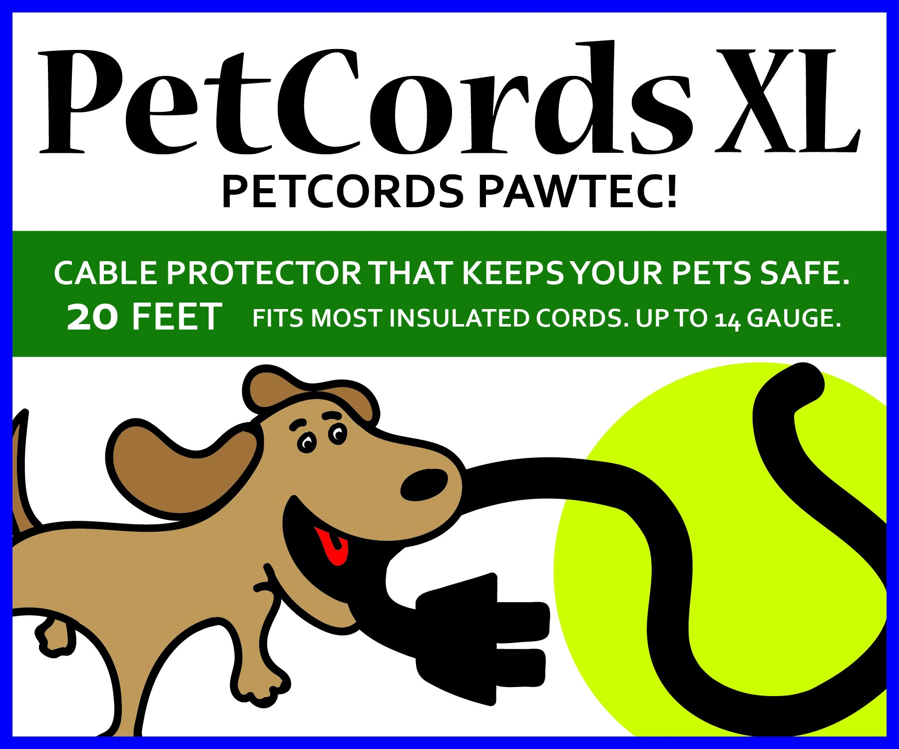 PetCords Dog and Cat Cord Protector- Protects Your Pets and Critters From Chewing Through Cables up to 20ft, XL- Unscented, Odorless MADE IN USA