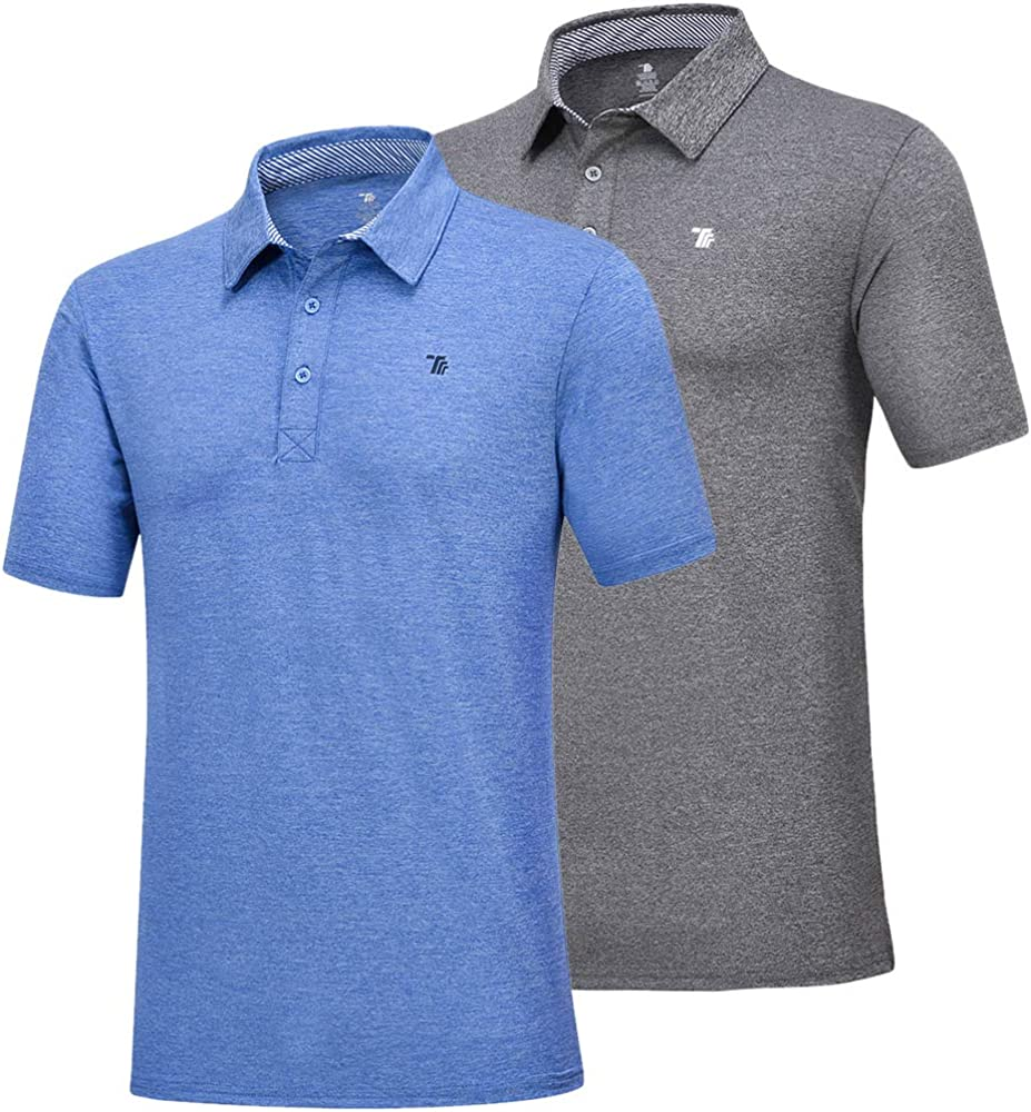 JINSHI Men's Athletic Shirts Sports Polo T-Shirts Short Sleeve Classic Golf Polo Shirt