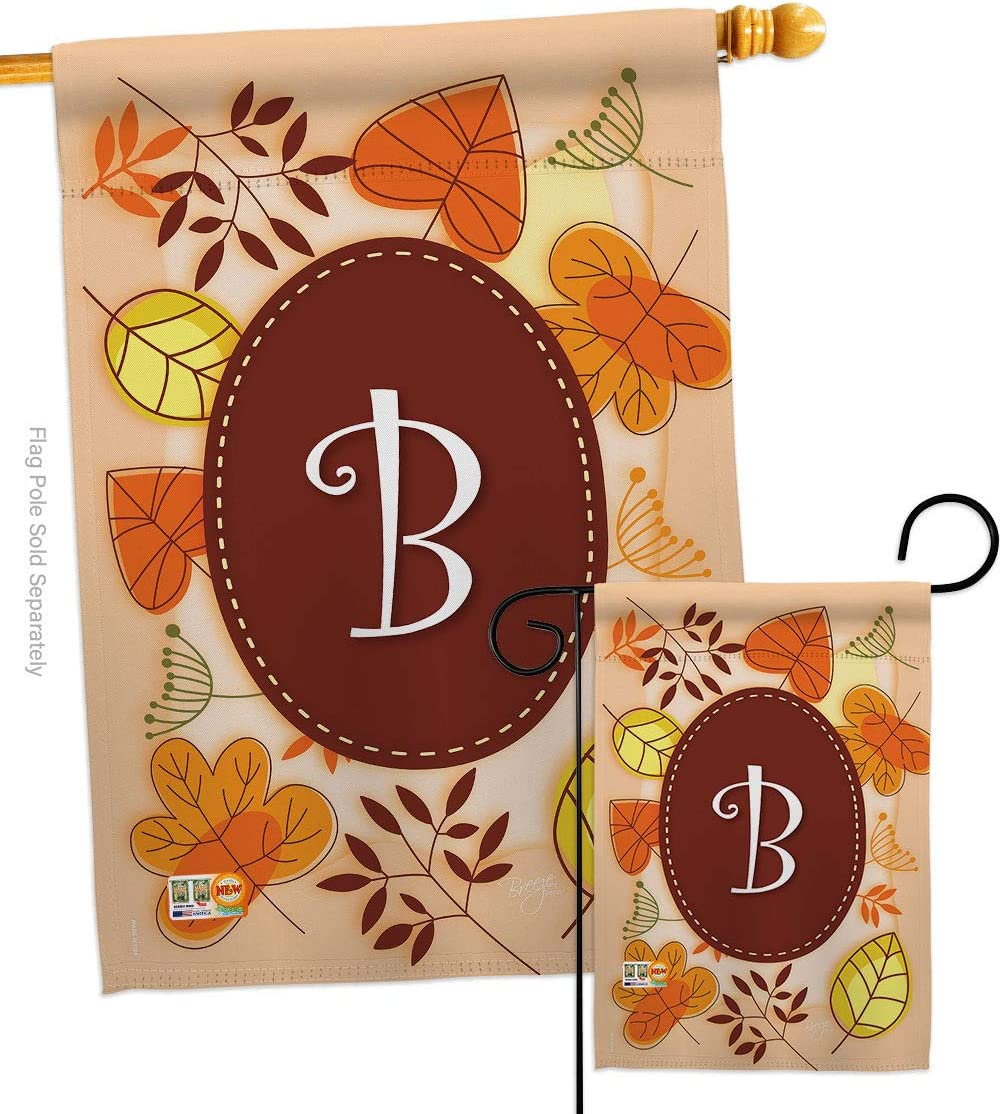 Harvest Autumn B Initial Garden House Flags Set Monogram Fall Scarecrow Pumkins Sunflower Leaves Season Autumntime Gathering Small Decorative Gift Yard Banner Double Sided Made In Usa 28 X 40
