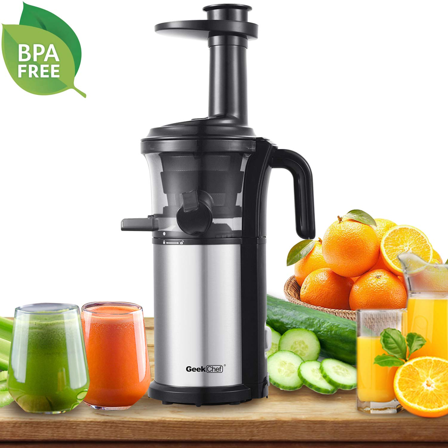 Slow Masticating Juicer Geek Chef Extractor Compact Cold Press Juicer Machine with Portable Handle/Quiet Motor/Reverse Function/Juice Jug and Clean Brush for High Nutrient Fruit & Vegetable Juice by Geek Chef