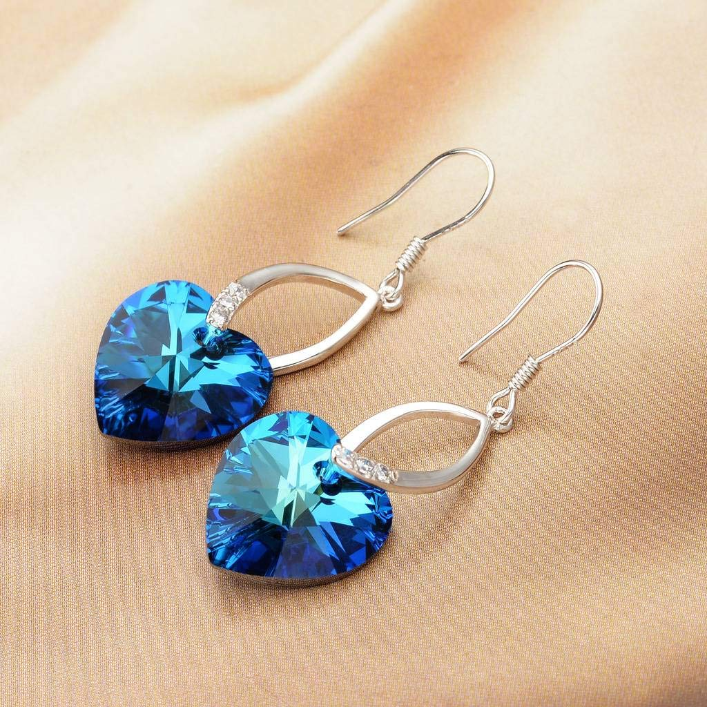 EleQueen 925 Sterling Silver CZ Love Heart French Hook Dangle Earrings Bermuda Blue Made with Swarovski Crystals by EleQueen (Image #2)