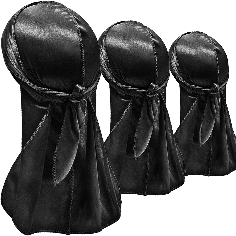 Black, Black, Black Hairizone Silky Durags Pack of 3 for Men Wave Head Bands