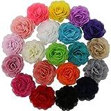"QingHan Little Girls' 3.5"" Chiffon Silk DIY Rosette Wedding Flowers Hair Clips Bows Pack Of 20"