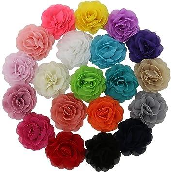Amazon qinghan little girls 35 chiffon silk diy rosette qinghan little girls 35quot chiffon silk diy rosette wedding flowers hair clips bows pack mightylinksfo