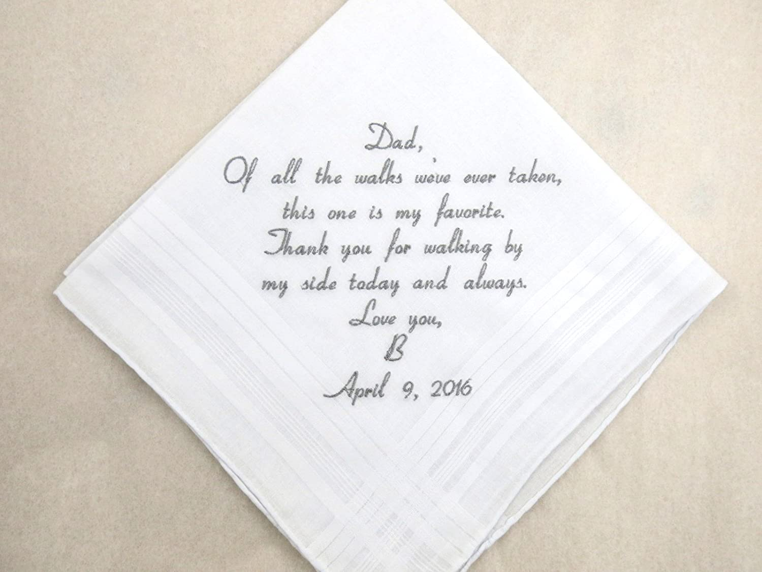 Custom Made Father of the Bride Wedding Handkerchief Hanky for Dad Monogrammed Pocket Square for Man HM400