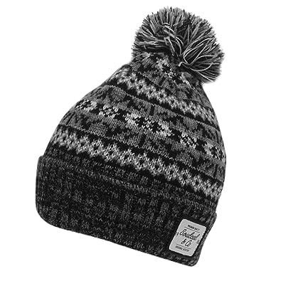 Soulcal Mens Dogoda Bobble Hat Pattern Winter Blackgrey Mens