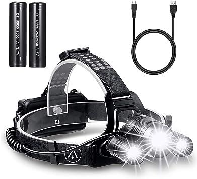 Linterna de cabeza LED CREE superbrillante, Akale recargable, resistente al agua, foco frontal, ideal para ciclismo, escalada, camping, paseo de ...