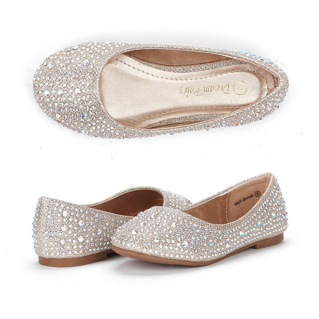 DREAM PAIRS Big Kid Muy-Shine Gold Glitter Girl's Mary Jane Ballerina Flat Shoes - 4 M US Big Kid