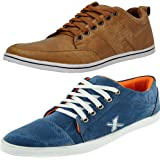 T-Rock Men's Combo Pack Sneakers Blue & Tan Casual Shoes