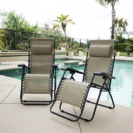 Beau Zero Gravity Reclining Outdoor Lounge Chair 2 Pack (Beige)