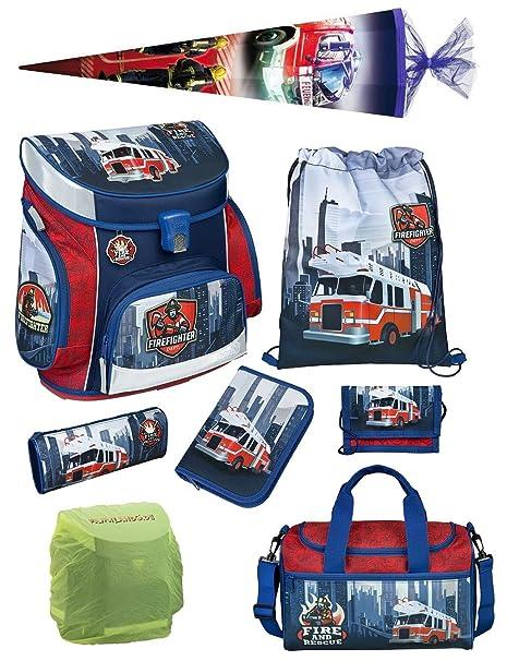 Juego de mochilas escolares exactamentela 9 piezas estuche, bolsa, casco amarillo lluvia/seguridad