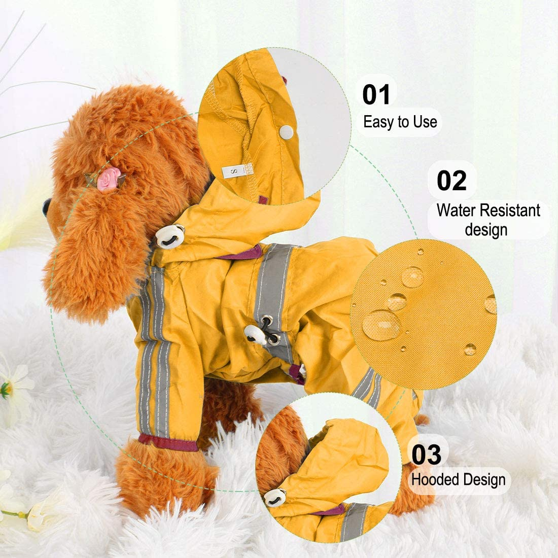 Orange M sourcing map Pet Dog Raincoat Dogs Rain Jacket Poncho Clothes Polyester Puppy Water-resistant Hooded Rainwear with Strip Reflective