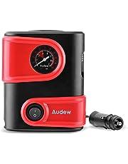 Audew Mini Compressore Aria Portatile, 100 PSI 3 Adattatori Inclusi, Cavo 3m Gonfia lo Pneumatico dell'Auto 12V e Bicicletta.