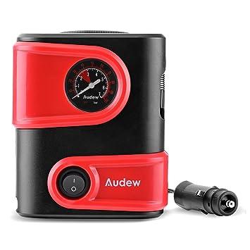 Amazon.es: Audew Mini Compresor de Aire portátil, 100 PSI 3 adaptadores incluidos, Cable de 3 m Infle la llanta y Bicicleta automáticas de 12V