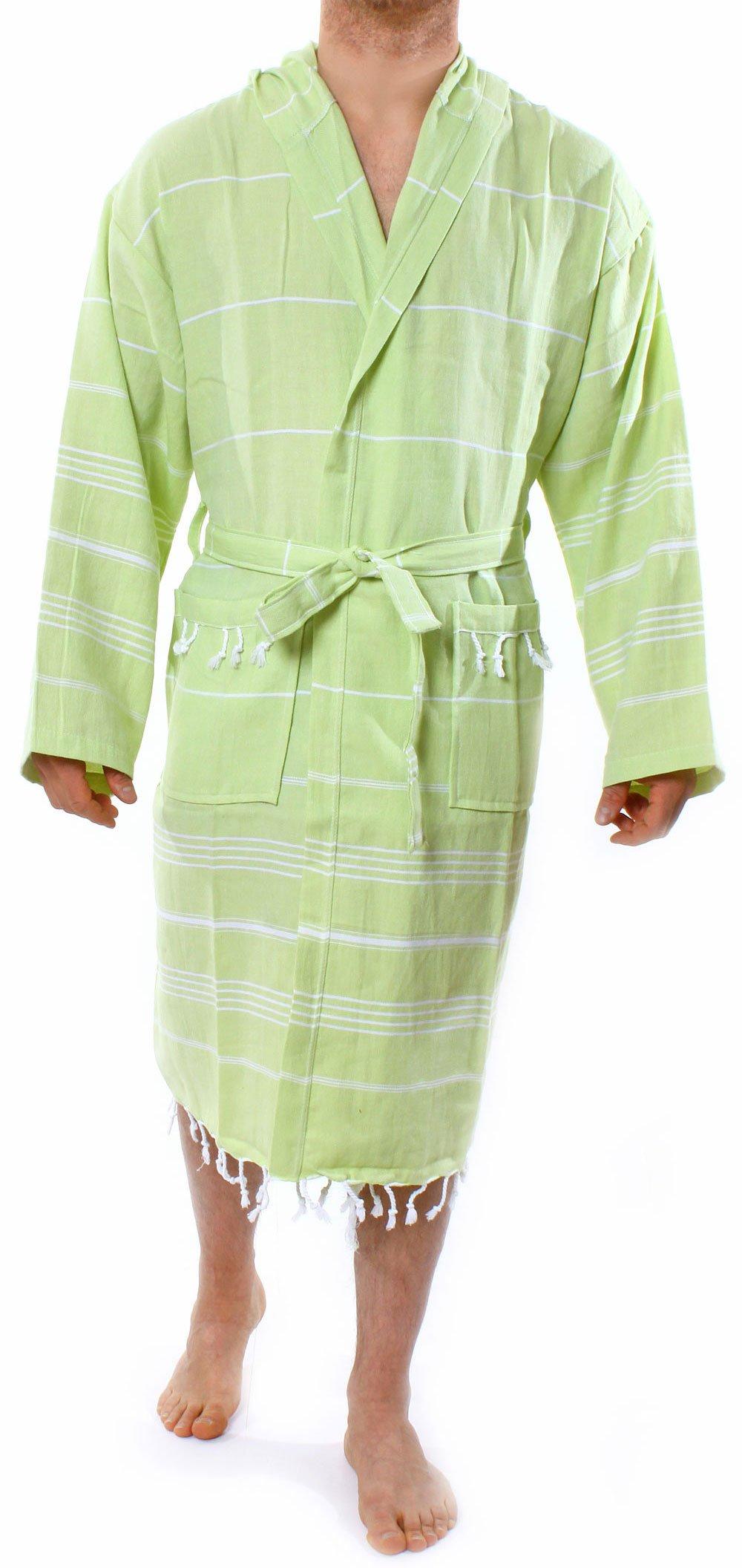 Cacala Hooded Bathrobe Pestemal Fabric 100% Turkish Cotton Kimono Unisex by Pistachiogreen