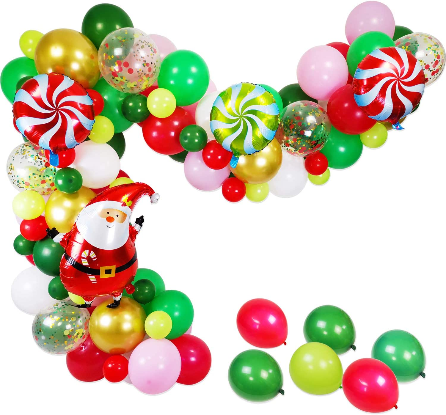 50 pieces 12 Inch Christmas Balloons Garland Arch Kit with Red Ribbon Latex Helium Balloons Confetti Deco Balloons Colorful Balloons Christmas Party Balloons Yiran Red Green Gold Confetti Balloons