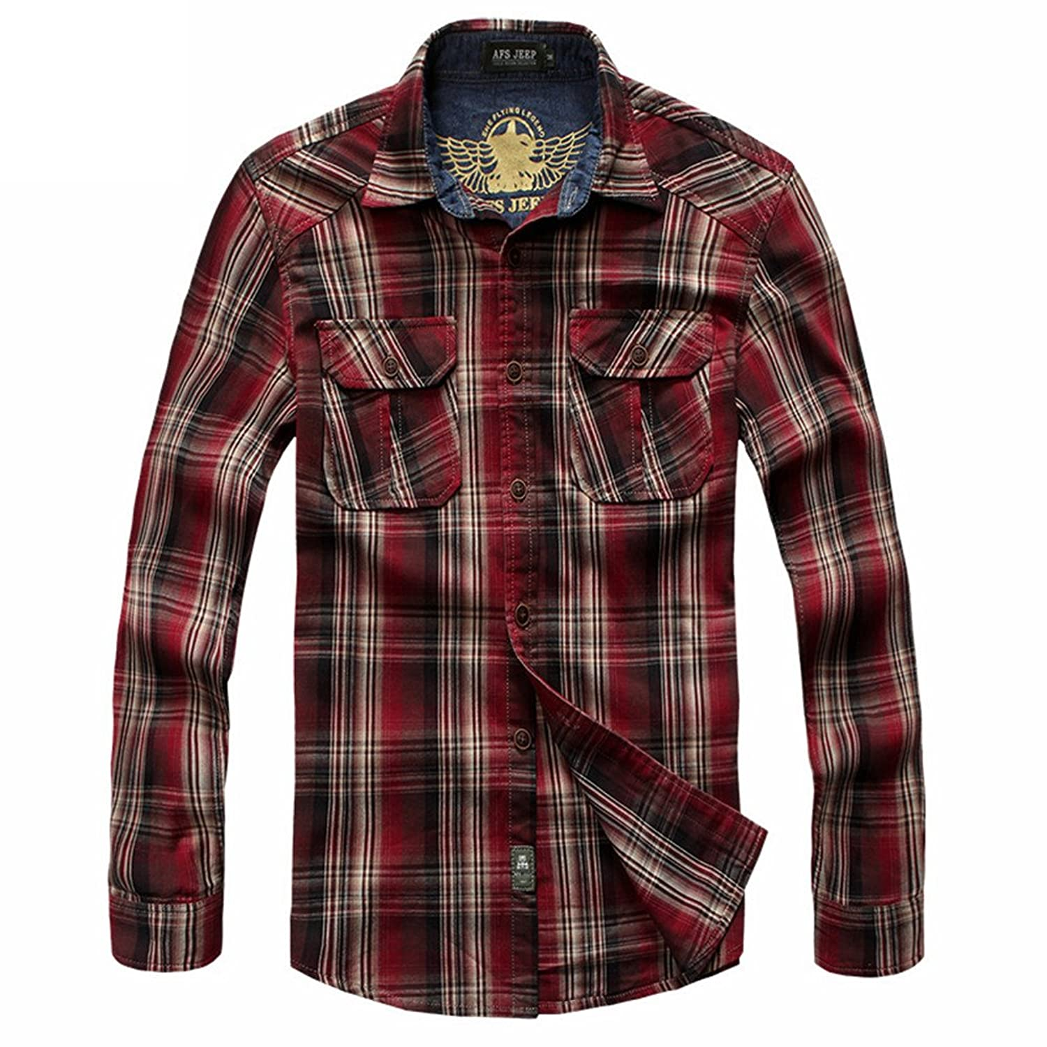 Men's Casual Plaid Shirts Long Sleeve Mulit-Pockets 1377
