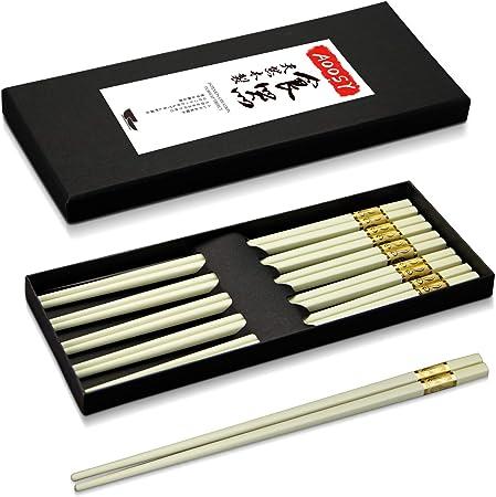 5 Paire en bambou Baguettes long couleurs assort Réutilisable chinois japonais