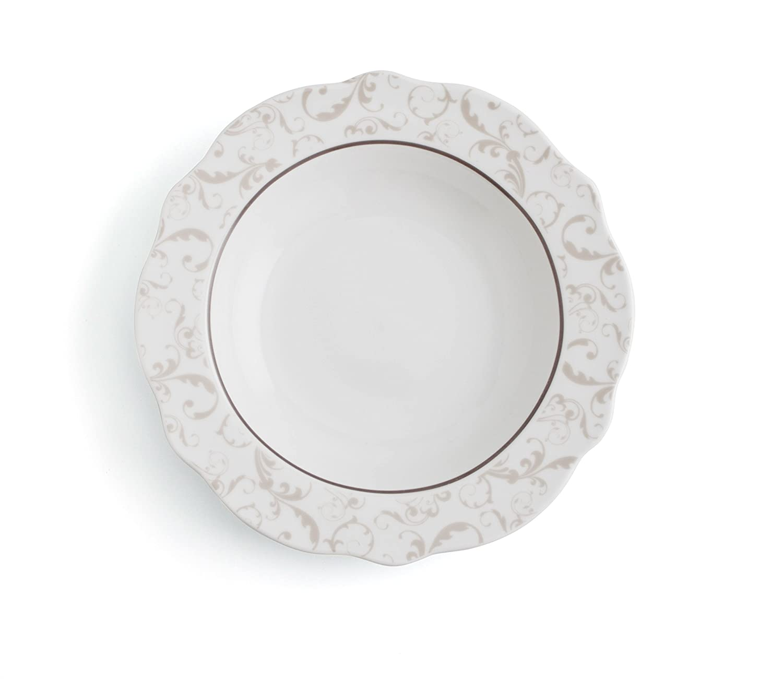 Bidasoa Vajilla 18 Piezas Porcelana Baroque Nature, Blanco y Beige, 22.62 cm, Unidades: Amazon.es: Hogar