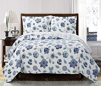 Over-Sized Coverlet 3pc set Elena California-King Size Luxury Microfiber Printed Quilt by Royal Hotel