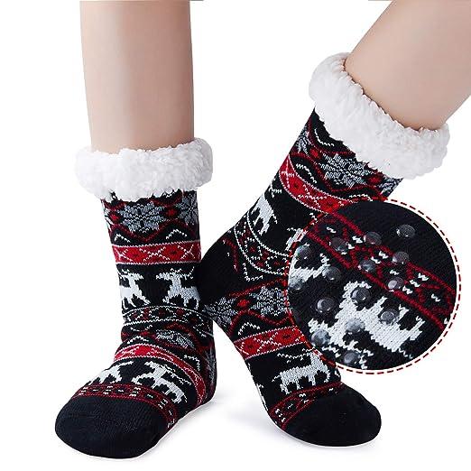 493a97f47 Uideazone Women Girls Xmas Socks Winter Fleece Lining Snowflake Deer  Christmas Slipper Socks