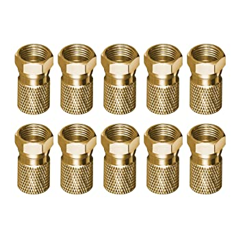 breite Mutter Kupfer CU-Vernickelt 5x F-Stecker für SAT-Kabel Bis Ø 8,2mm