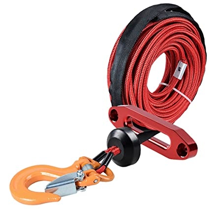 Red Hawse Fairlead for Car Truck ATV UTV Ramsey KFI 1pc RED 50ft x 1//4 inch 7000Lbs Synthetic Winch Line Cable Rope All Heat Guard Rock Protection w//Winch Stopper Astra Depot