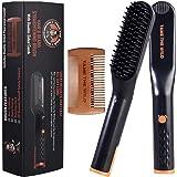 Tame's Easy Glide Beard Straightener - Fast Anti-Scald Beard Straightening Comb - Ceramic Heated Beard Brush - 3 Temperature settings - Bonus Double Sided Detangle Comb Included - Gift Set