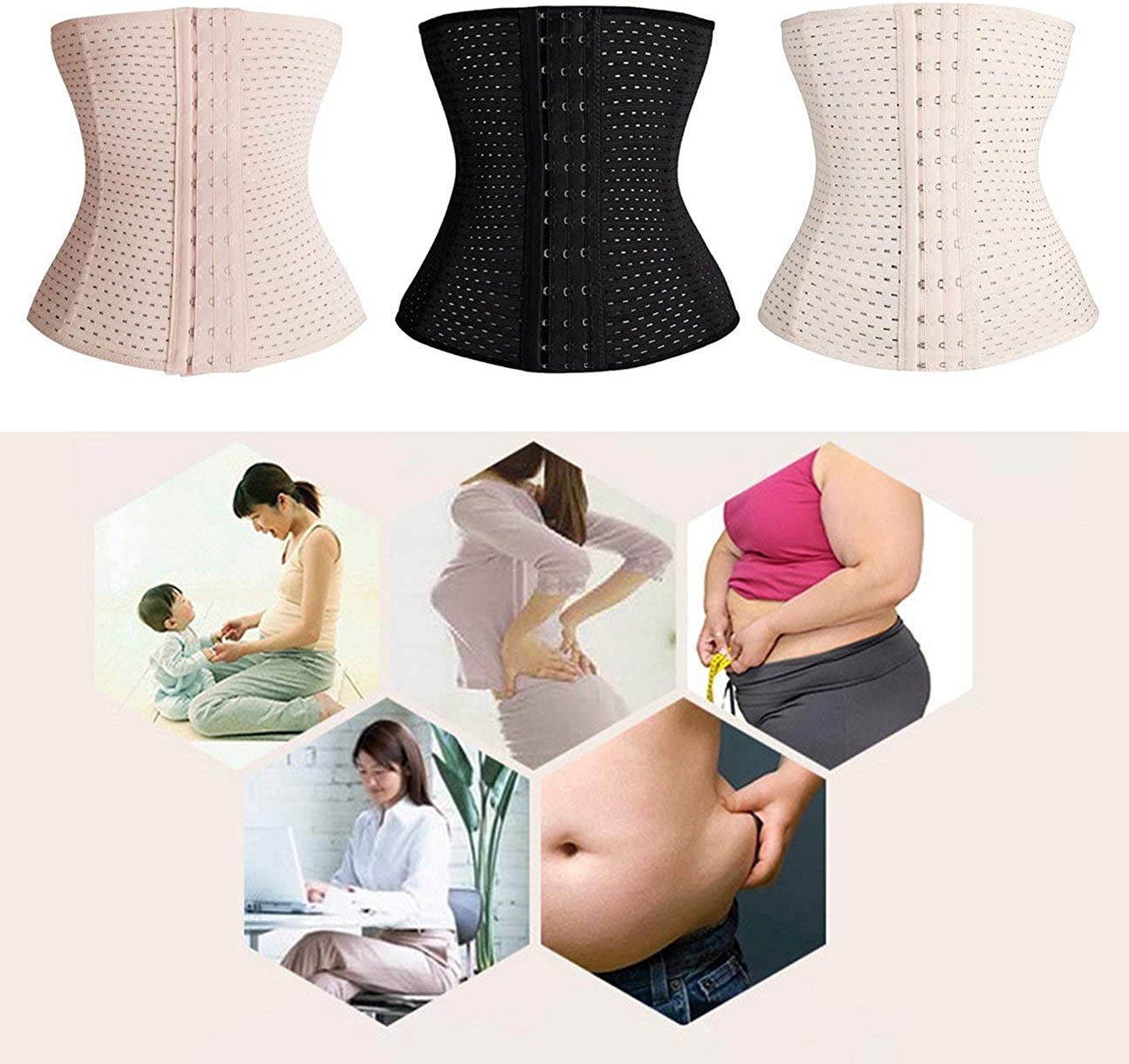 HIPENGYANBAIHU Women Slimming Corset Waist Trainer Cincher Body Beauty Shaper Postpartum Belly Band Underbust Tummy Control Belt