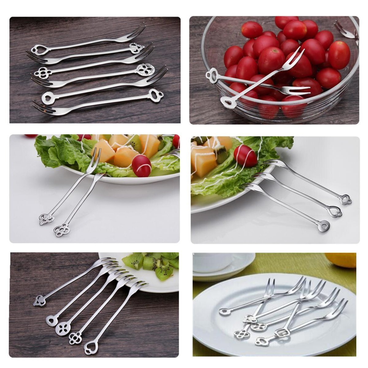 Stainless Steel Fruit Forks, Bistro Cocktail Forks ,Tasting Appetizer Forks,Mini Dessert Forks, Fruits Cake Salad Fork Set for Home and Restaurant-6 piece Set