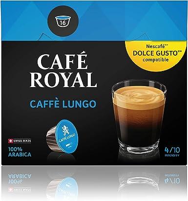 Café Royal Lungo 48 cápsulas compatibles con Nescafé (R)* Dolce Gusto (R)* - Intensidad:4/10 - 4x Pack de 12cápsulas - 100 % arábica certificado UTZ - de excelente Calidad Suiza: Amazon.es: Alimentación y bebidas