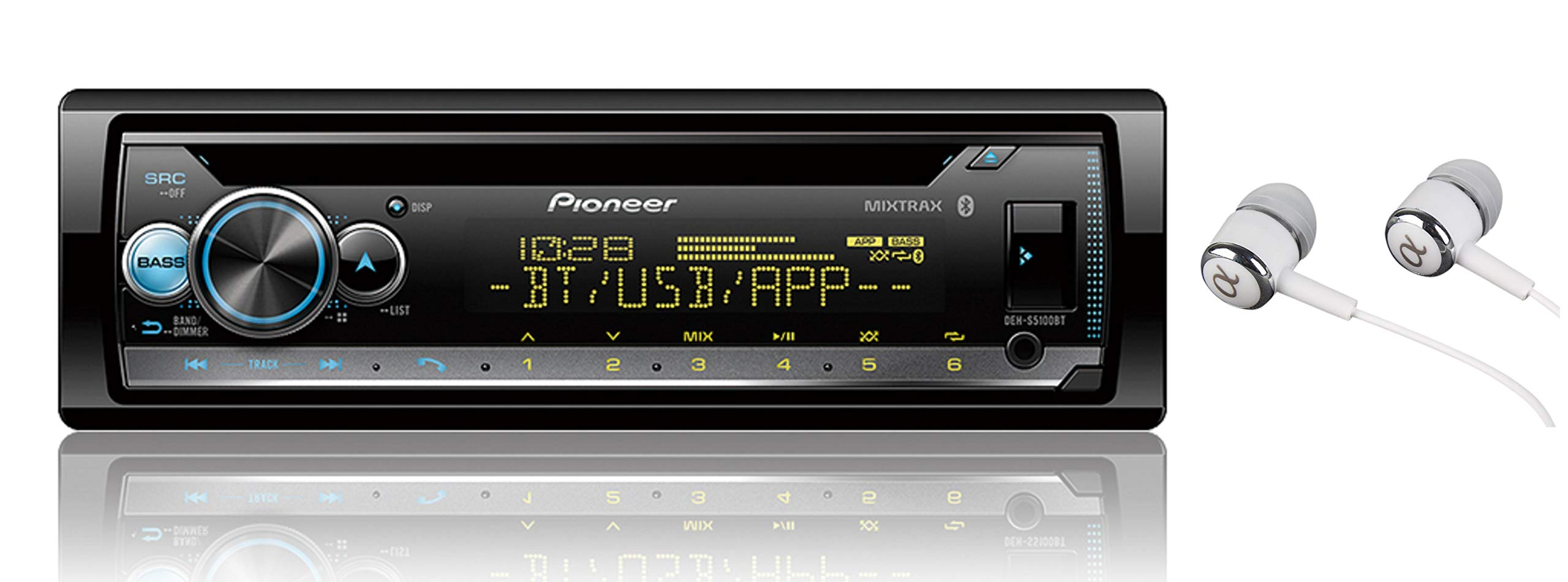 Pioneer DEH-S5100BT in-Dash Built-in Bluetooth CD, MP3, Front USB, Auxiliary, Pandora, AM/FM, Built in iPod, iPhone and iPad Controls, Dual Phone Connection Stereo Receiver/Free ALPHASONIK Earbuds by PIONEER