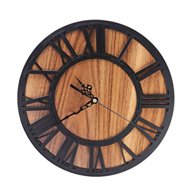 Lingxuinfo Wall Clock 12 Inch Creative Round Silent Wooden Wall Clock Decorative Clock for Kitchen Living Room Bedroom Office - Black