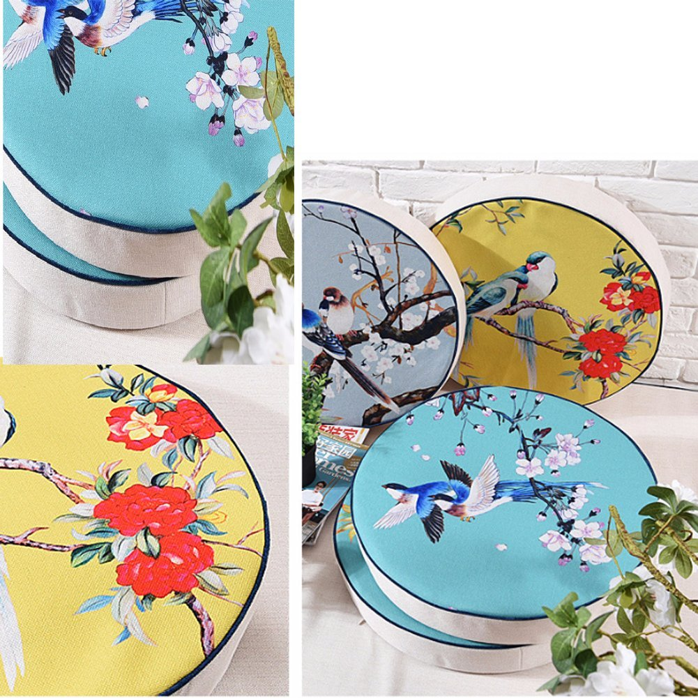 dream_home America Rural Bird and Flower Style Round Zafu, for Bay Window/Balcony/Floor/Table, 16 Inch by dream_home (Image #4)