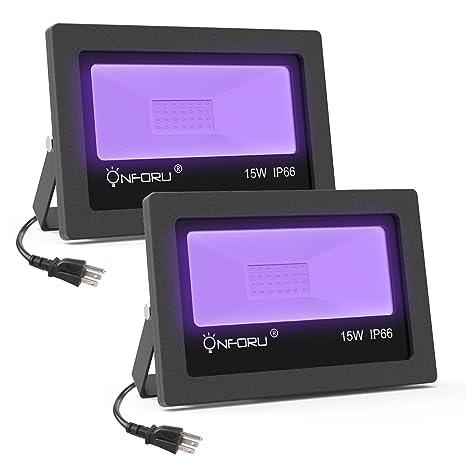 Onforu 2 Pack 15W UV LED Black Light, Ultraviolet Outdoor Flood Light, IP66 Waterproof with Plug ...