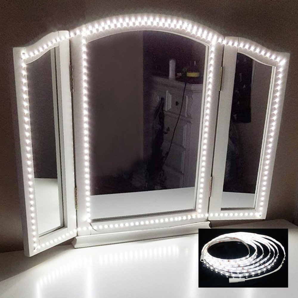 OWIKAR LED Vanity Mirror Lights Kit for Makeup 13ft 240 LEDs Mirror Light Strip Vanity Lights Soft Daylight White Hollywood Style for Makeup Vanity Table Kitchen Dressing Room DIY Project with Dimmer