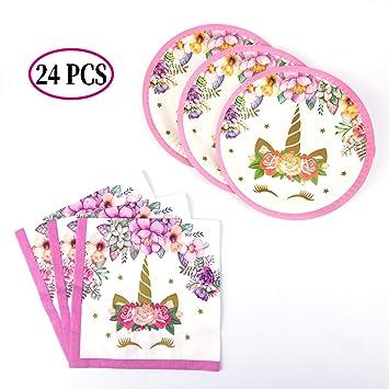 SAVITA Platos y servilletas de Papel Unicornio Suministros Fiesta de Unicornio para Fiesta de Cumpleaños de Niños Baby Shower,12 Invitados(24 Pack)