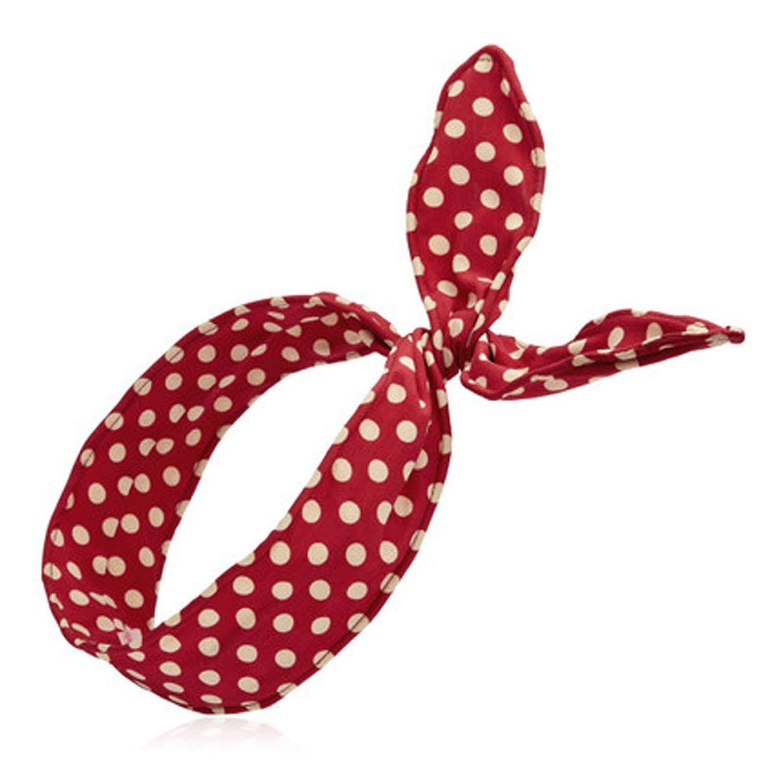 HugeStore - 2x fasce per capelli da donna, con motivo a pois, in cotone, modello turbante Deep Red