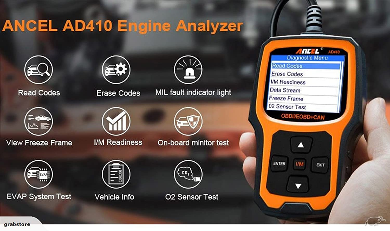 ANCEL AD410 Enhanced OBD II Vehicle Code Reader Automotive OBD2 Scanner  Auto Check Engine Light Scan Tool (Black-Yellow): Amazon.co.uk: Car &  Motorbike