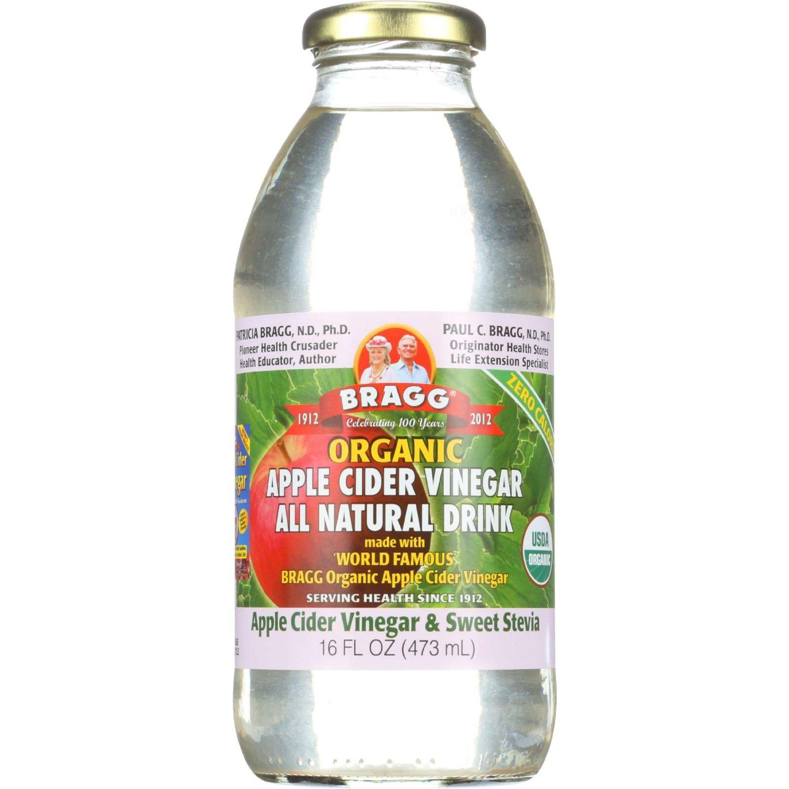 Bragg Apple Cider Vinegar Drink - Organic - Sweet Stevia - 16 oz - case of 12 - 95%+ Organic - - - - -