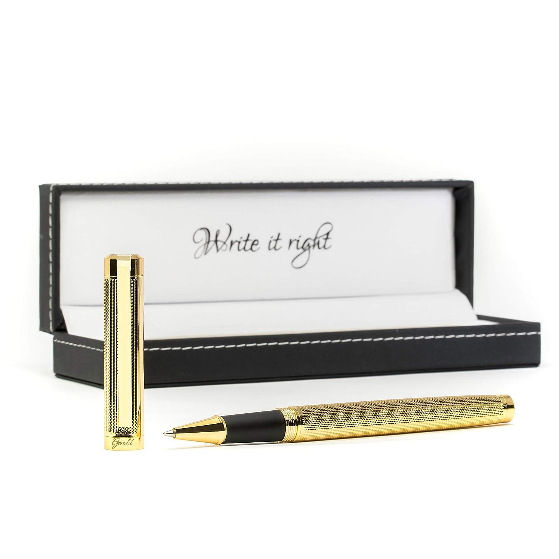 Penna a sfera in stile dorato di alta qualità – elegante e elegante – Penna a sfera con custodia in pelle regalo – Penna elegante di alta qualità Hetcher and Smith 10081205-000050